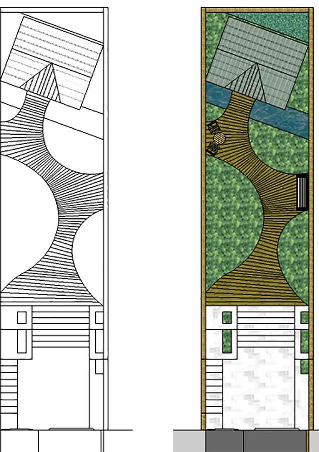 Curved deck sketch design.