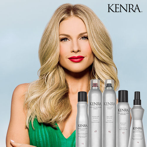A picture of Kenra products and hair model