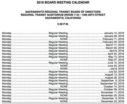 Mark your calendars: SacRT 2019 Board Meeting Schedule
