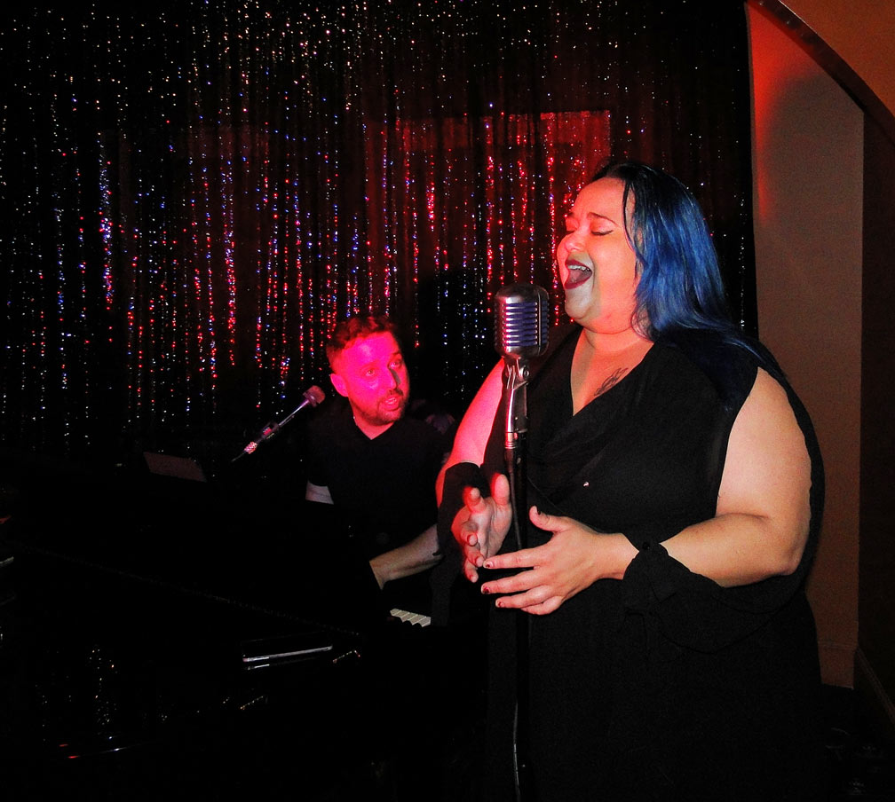 Mailyn sings at The Cabaret piano ba