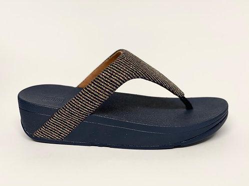 Fitflop Lottie Glitter Stripe Toe-Tong Midnight Navy