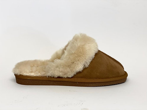 Pantoffels suède camel