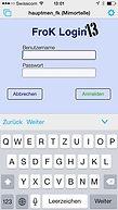 Startmaske zur Anmeldung auf dem iPhone