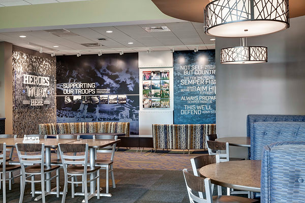 heroes Work here Dining area at Employee Center ESPN's corporate Bristol, Connecticut