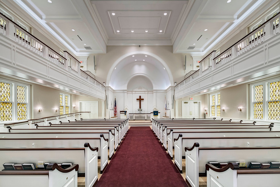 Beautiful white interior of Somers congregational