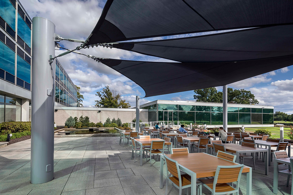 Outside dining at Cigna cafeteria in Bloomfield, Connecticut