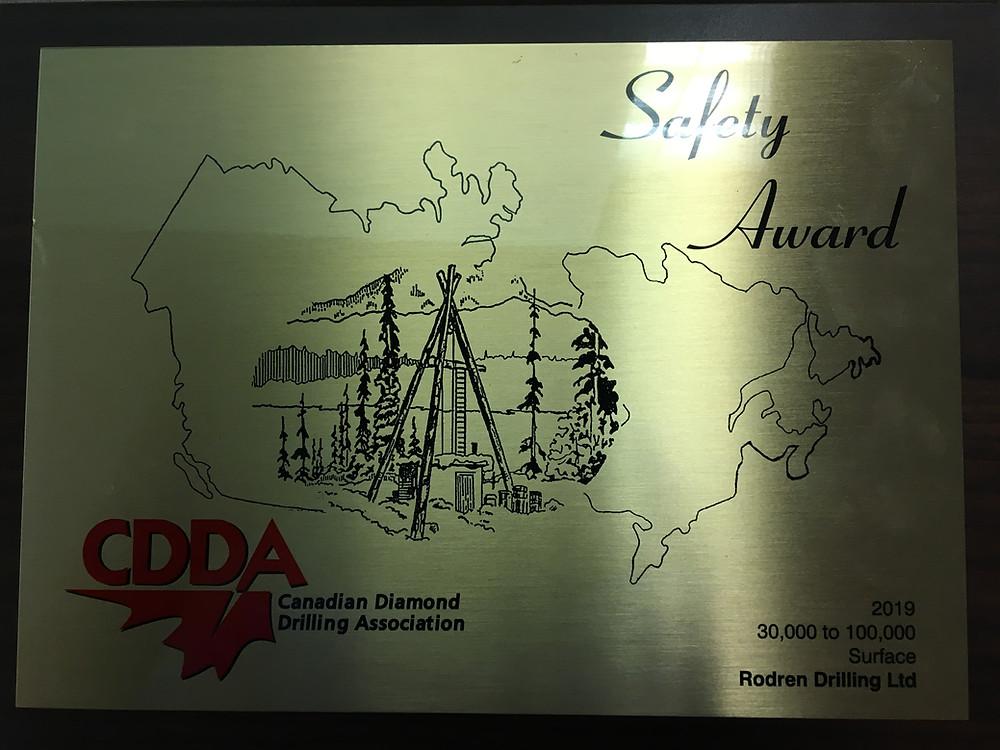 CDDA Safety Award | Rodren Drilling