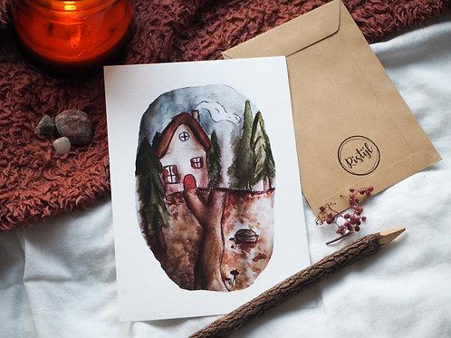 Huisje in het bos Poster A5