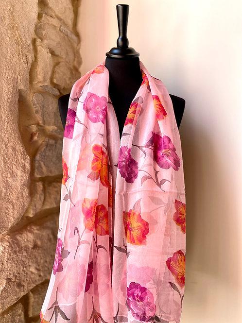 Mousseline rose / fleurs roses