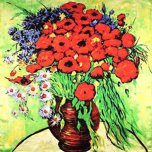 """Carré Vincent Van Gogh """"Vase ave Marguerites et Coquelicots"""""""