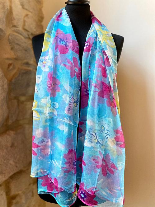Mousseline bleue / fleurs roses