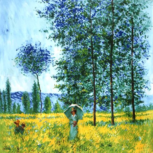 """Carré Claude Monet """"Sous les peupliers"""""""