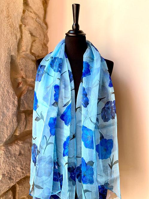 Mousseline bleue / fleurs bleues