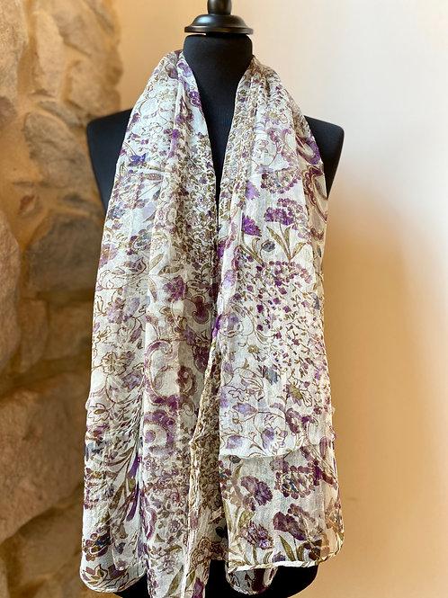 Mousseline blanche / fleurs violettes
