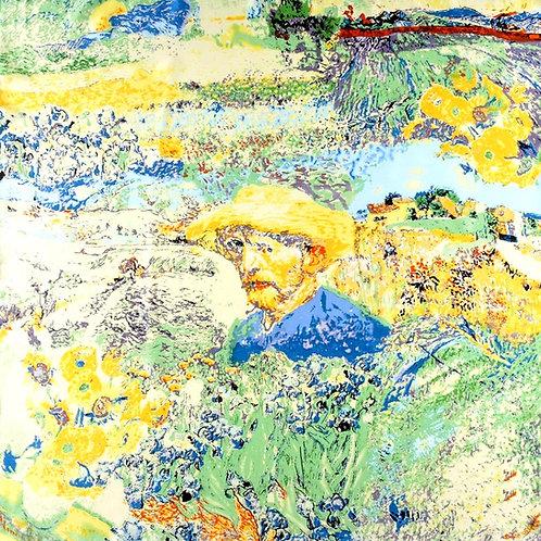 """Carré Vincent Van Gogh """"Autoportrait au chapeau de paille"""""""