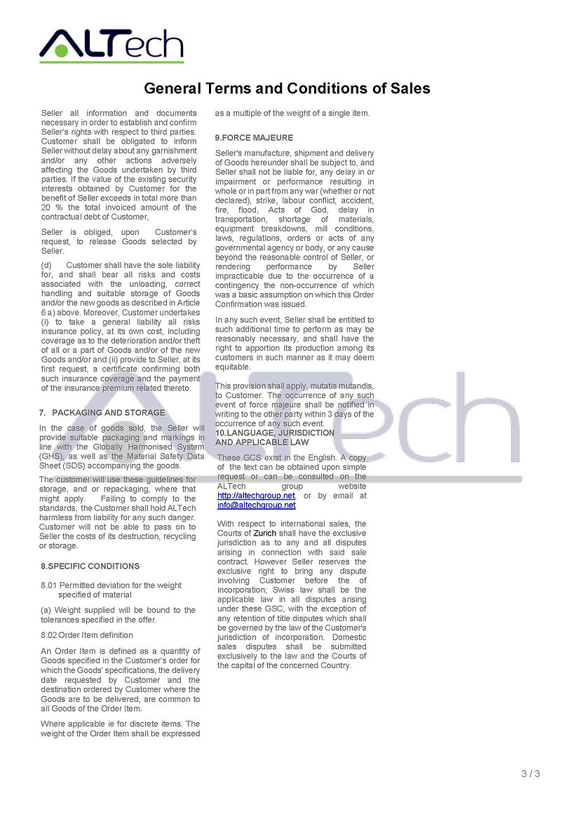 ALTech General Terms and Conditions of S