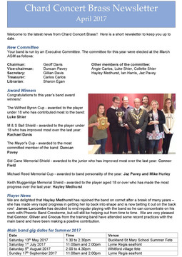 Band Newsletter April 2017
