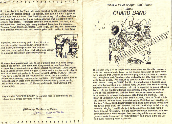 Pages 1 and 4 - What a lot of people don't know about Chard Band