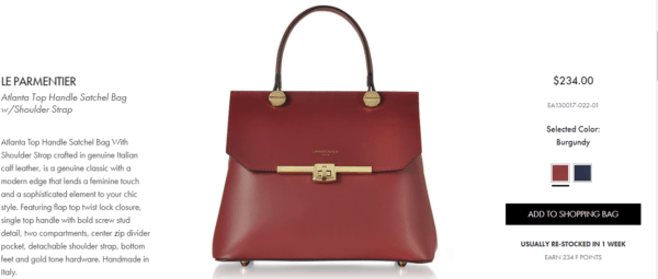 Forzieri's moderately priced Leparmentier line of purses has been a hit with Chinese mobile shoppers.