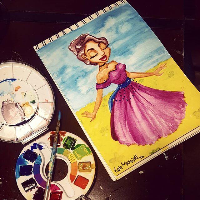Watercolor flower field🌻🌻🌻
