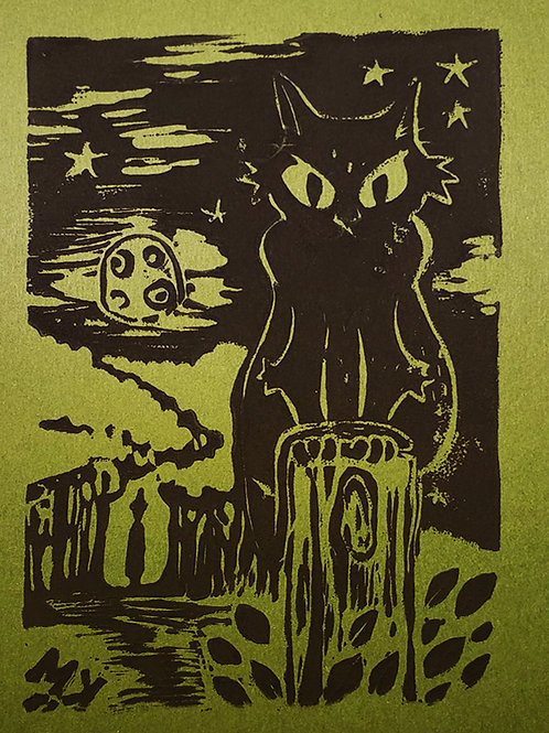 Midnight Cat Ink Print (5x7)