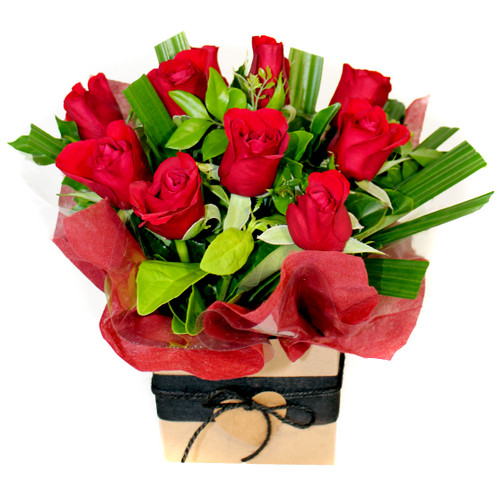 The Perfect What To Say I Love You With Beautiful Red Roses Filler Flowers And Fresh Green Foliage Please Note Greenery Will Vary Due