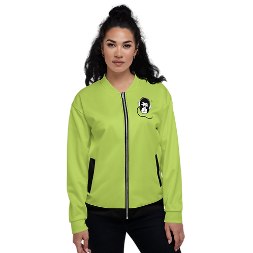 Women's Unisex Fit Bomber Jacket - GS Music Academy - Green / Black Detail