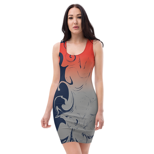 Body Con Dress - EDM J to F Red/Grey Gradient Swirl - Navy