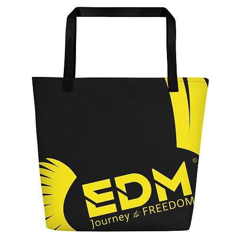 Beach Bag - Black EDM Journey to Freedom Print - Yellow