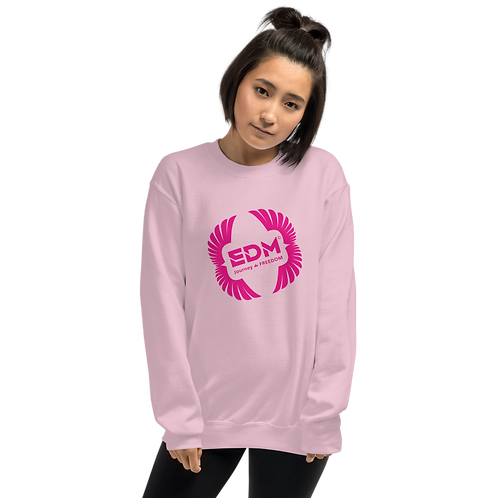 Womens Sweatshirt - EDM J to F Square Wings Logo - Hot Pink / Various