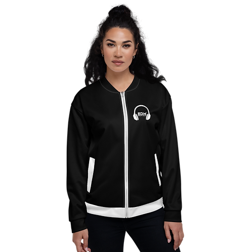 Women's Unisex Fit Bomber Jacket - EDM J to F - Black / White DJ Style