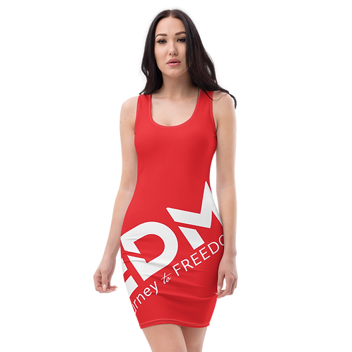 Body Con Dress - Red EDM Journey to Freedom No wings Print - White