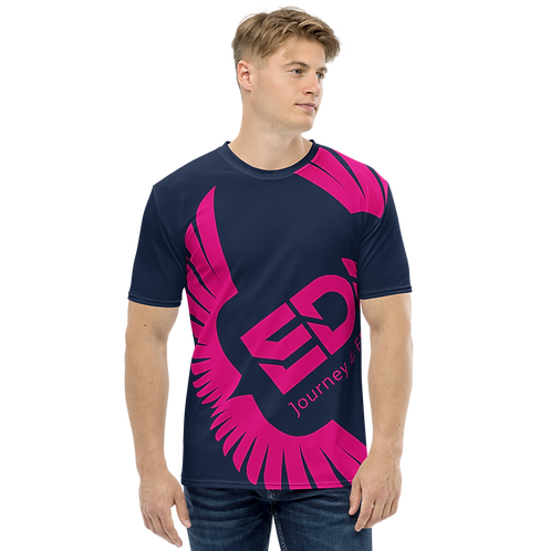 Men's T-shirt Navy - EDM Journey to Freedom Large Print - Hot Pink