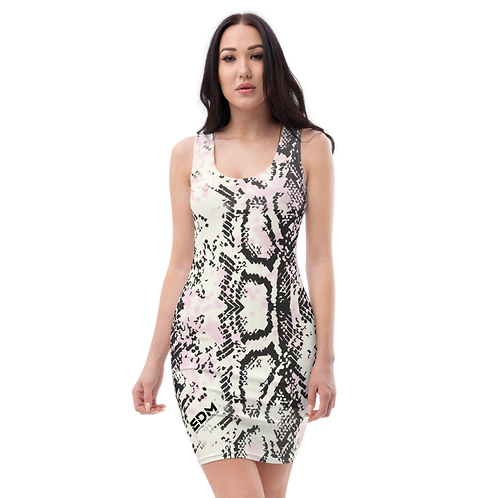 Women's Body Con Dress - EDM J to F All Over Snake Print