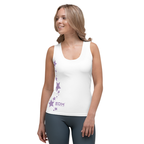 Women's Vest - EDM J to F Purple Star - White