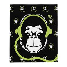 Fleece Blanket - GS Music Academy Ape DJ Pattern - Black