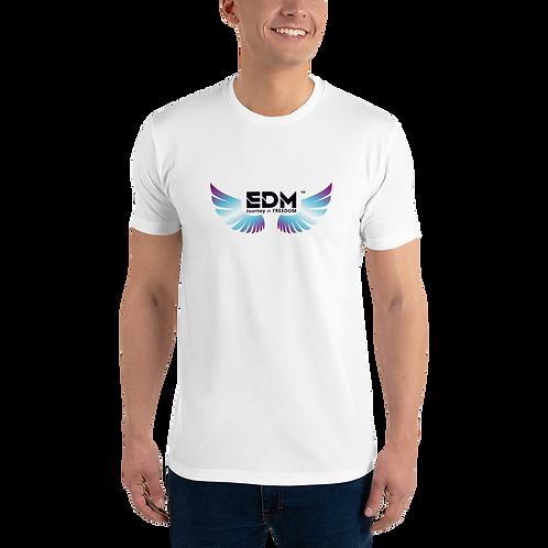 Mens Fitted T-shirt - EDM J to F Logo Multi - White