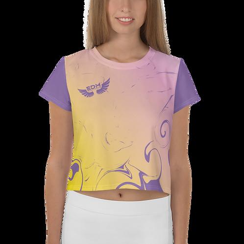 Women's Crop Top - EDM J to F Gradient Yellow/ Pink - Purple