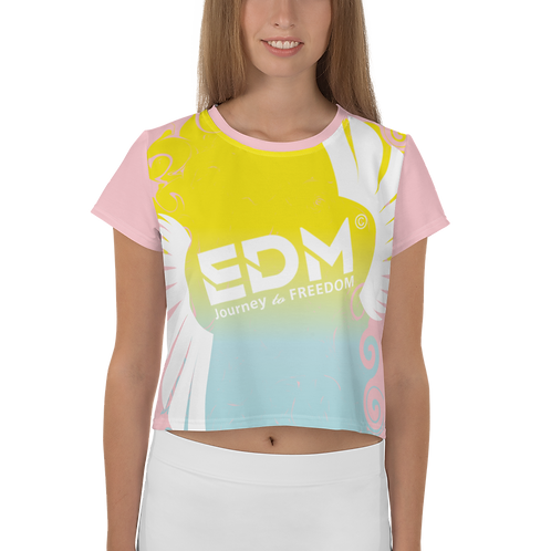 Women's Crop Top - EDM J to F Gradient Swirl Yellow/Blue Large Logo White - Pink