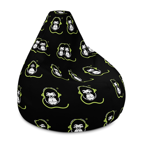 Bean Bag Chair Cover - GS Music Academy Ape DJ Pattern - Black
