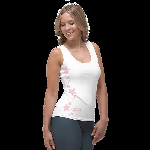 Women's Vest - EDM J to F Baby Pink Star - White