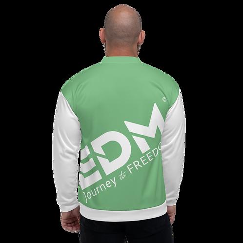 Men's Unisex Fit Bomber Jacket - EDM Journey to Freedom White / Green