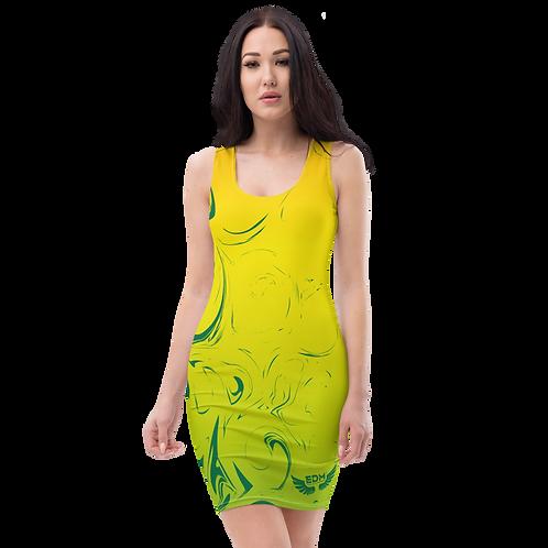 Body Con Dress - EDM J to F Yellow/Orange/Green Gradient Swirl - Emerald Green