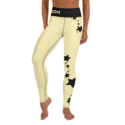 Women's Leggings Black Star - EDM J to F Lemon