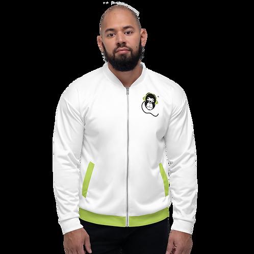 Men's Unisex Fit Bomber Jacket - GS Music Academy - White / Green