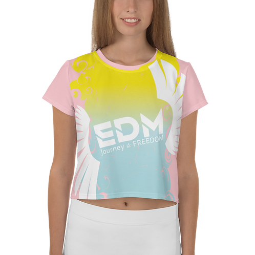 Women's Crop Tee - Gradient Yellow/Blue/Baby Pink - EDM J to F Large Logo White