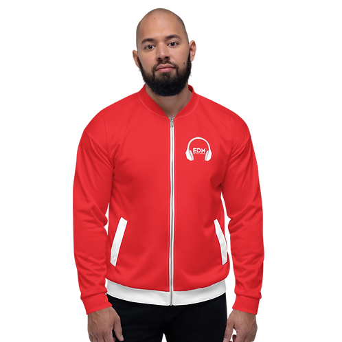 Mens Unisex Fit Bomber Jacket - EDM J to F - Red / White DJ Style