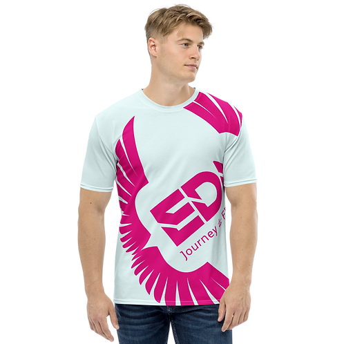 Men's T-shirt Ice Blue - EDM Journey to Freedom Large Print - Hot Pink