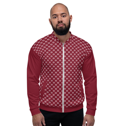 Men's Unisex Fit Bomber Jacket - EDM Journey to Freedom Pattern Burgundy / White