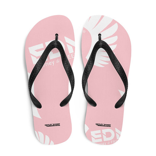 Flip-Flops Baby Pink / Black EDM Journey to Freedom Print - White